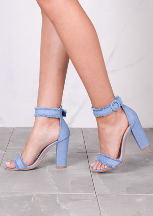 Fringe Buckle Chunky Heeled Ankle Strap Sandals Light Denim Blue