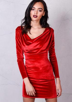 Full Sleeve Cowl Neck Velvet Bodycon Dress Red