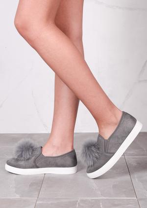 Fur Pom Pom Faux Suede Slip On Sneaker Pumps Grey