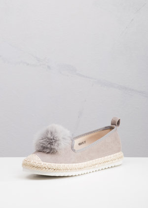 Espadrilles Pom Pom Faux Suede Cleated Slip On Sneaker Pumps Grey