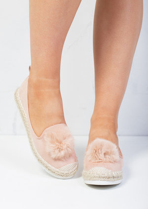 Pom Pom Faux Suede Espadrilles Slip On Cleated Sneaker Pumps Pink