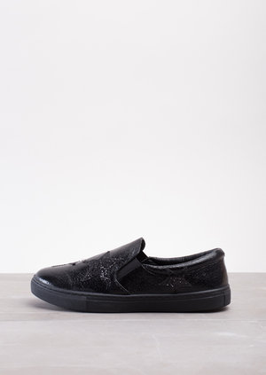 Glittery Star Slip On Plimsolls Metallic Black