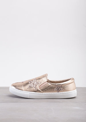 Glittery Star Slip On Plimsolls Metallic Rose Gold