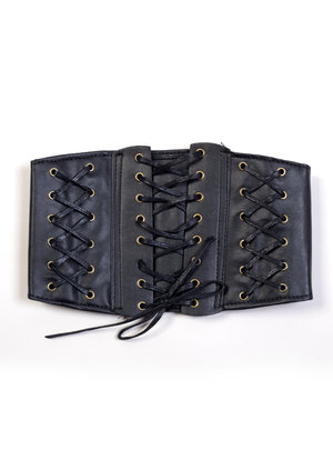 Gold Eyelet Lace Up Corset Belt Black