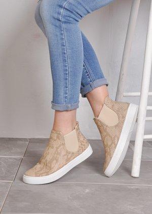 Hi TopSlip OnFlatform Sneaker Plimsolls Snake Skin Print Beige