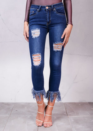 High Rise Ripped Detail Fringe Hem Cropped Skinny Jeans Blue