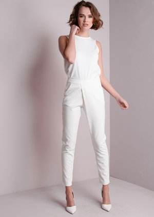 High Waist Cross Over Cigarette Trousers White