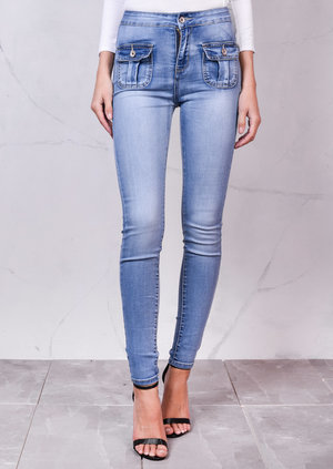 High Waisted Superstretch Front Pocket Detail Skinny Lightwash Denim Jeans Blue
