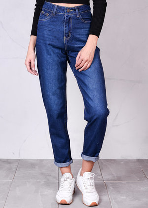 High Waisted Tapered Leg Mom Jeans Dark Blue