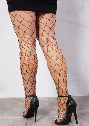 Fishnet Diamond Tights With Diamante Black
