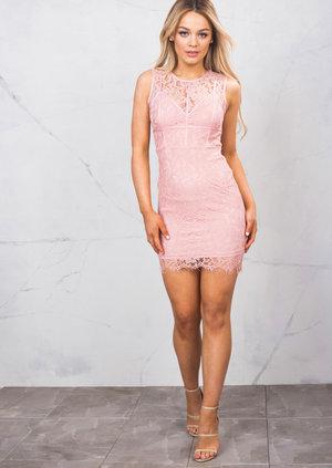 Lace Corset Detail Mini Bodycon Dress Blush Pink