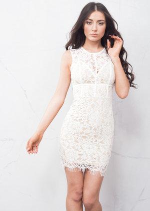 Lace Corset Detail Mini Bodycon Dress White