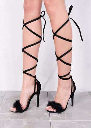 Lace Up Feather Stiletto Sandals Black