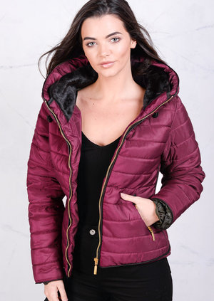 Lightweight Quilted Puffer Jacket Coat Burgundy
