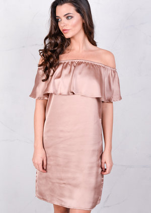 Lightweight Satin Off The Shoulder Frill Bardot Dress Nude