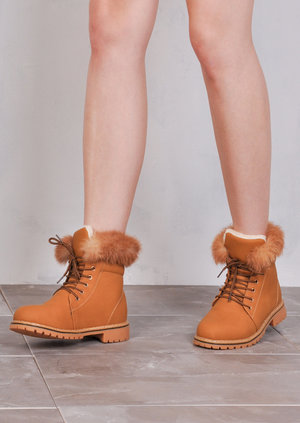 Nubuck Look Fur Fleece Cleated Ankle Boots Honey Tan