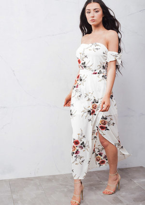 Off The Shoulder Floral Maxi Dress with Side Split White