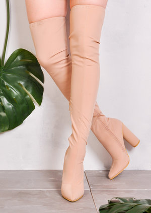 Over the Knee Thigh High Long Boots in Stretchy Lycra Nude