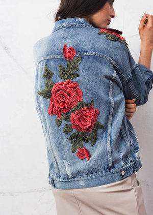 Oversized Floral Embroidered Ripped Boyfriend Denim Jacket Blue