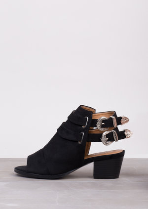 Peep Toe Buckled Western Mule Ankle Boots Black