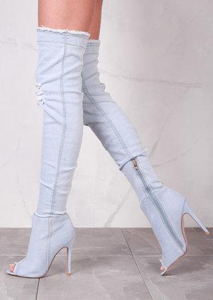 Peep Toe OverThe Knee Boots Stiletto Ripped Denim Light Blue