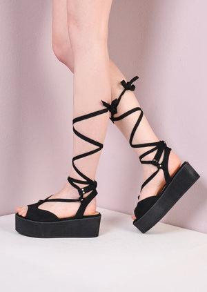 Platform Lace Up Wedge Flat Espadrille SandalsSuede Black
