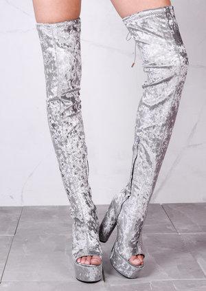 Platform Peep Toe Block Heel Crushed VelvetOver The Knee Boots Silver Grey
