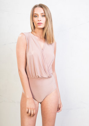 Plunge Wrap Over Bodysuit Pink