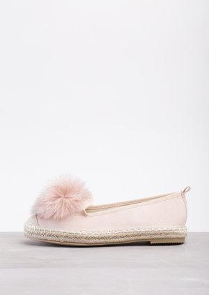 Pom Pom Espadrilles Flats Dusty Pink