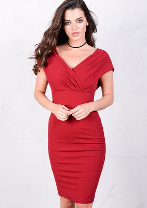 Ruched Party Midi Bodycon Dress Burgundy