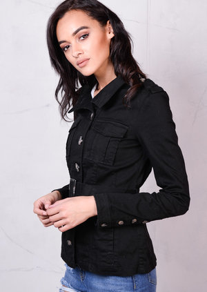 Safari Style Buttoned With Multiple Pockets Jacket Black