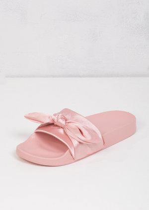 Satin Bow Tie Sliders Pink