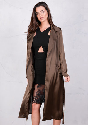 Satin Maxi Duster Coat Mac Trench Olive Green