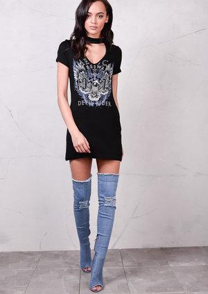 Slogan ChokerT Shirt Dress Black