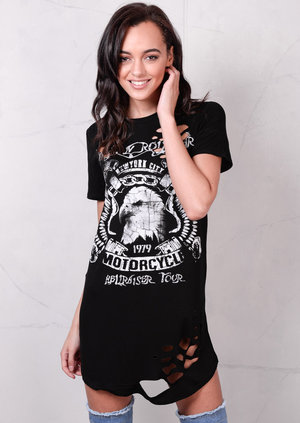 Slogan Distressed T Shirt Dress Black