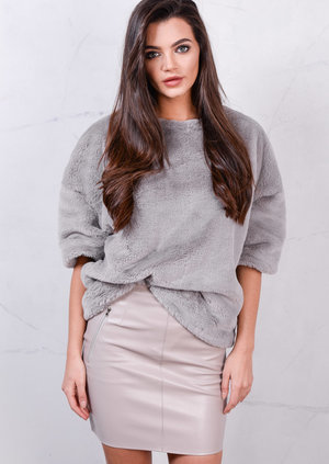Soft Faux Fur Short Sleeved Fluffy Top Grey
