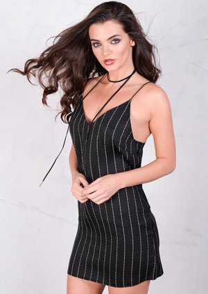 Spaghetti Strap Striped Cami Dress Black