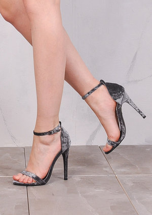 Strapped Barely There Heeled Sandals Crushed Velvet Silver Grey