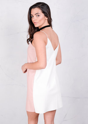Strappy Reversible Leather V-Neck Cami Dress White Pink