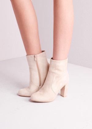 Suede Block Heel Ankle Boots Nude
