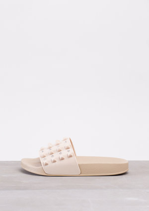 Summer Studded Sliders Beige