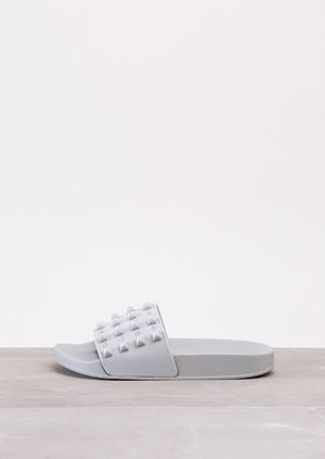 Summer Studded Sliders Grey