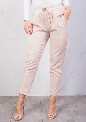 Tie Waist Tailored Fit Straight Trousers Beige