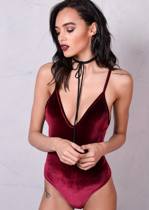 Velvet Plush V-Neck Bodysuit Burgundy Red