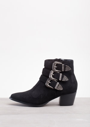Western Cowboy Style Buckle Straps Ankle BootsBlack