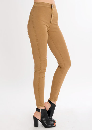 High Waisted Super Skinny Jeans Tan
