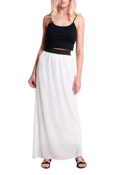 boho contrast high waisted pleated maxi skirt white