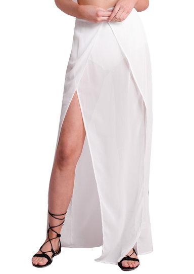 sheer split maxi skirt with knicker shorts white