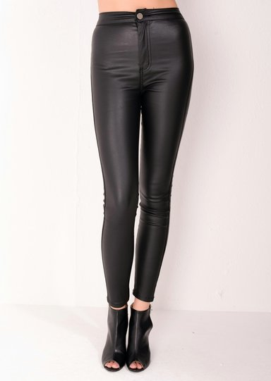 high waisted faux leather look jeans black