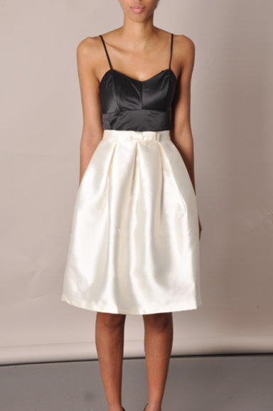 April Cream Pleated Midi Skirt
